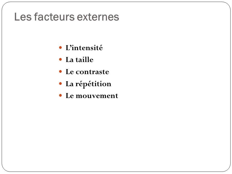 Les facteurs externes Lintensité La taille Le contraste La répétition Le mouvement