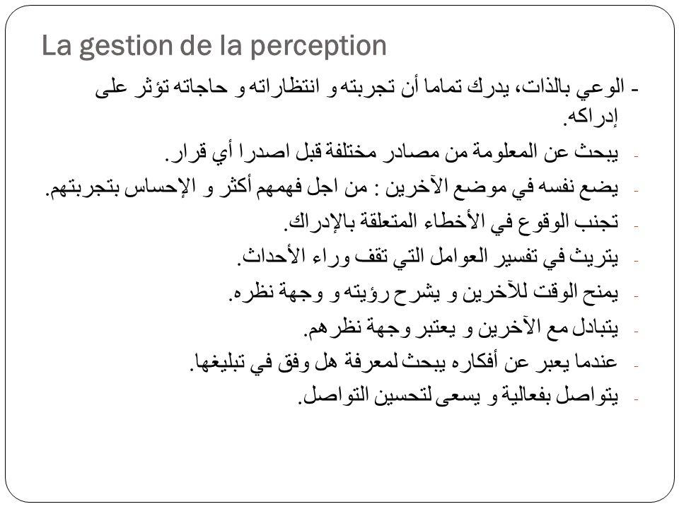 La gestion de la perception - الوعي بالذات، يدرك تماما أن تجربته و انتظاراته و حاجاته تؤثر على إدراكه.
