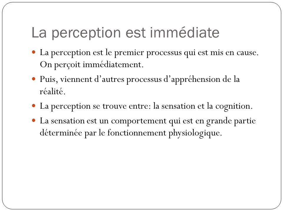 La perception a une structure La perception est un processus qui permet dorganiser les données sensorielles en touts repérables plutôt quen un ensemble déléments disparates.
