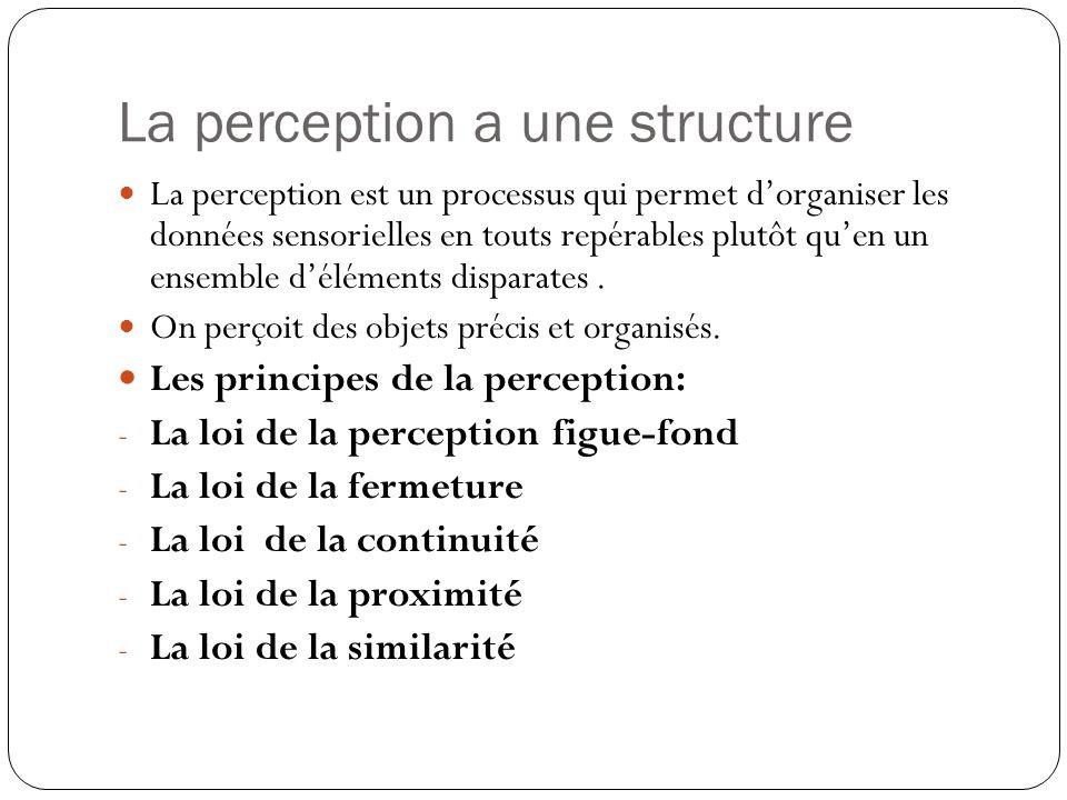Les principes de la perception -La loi de la perception figue-fond Nous percevons toujours - les objets comme émergeant dun environnement.