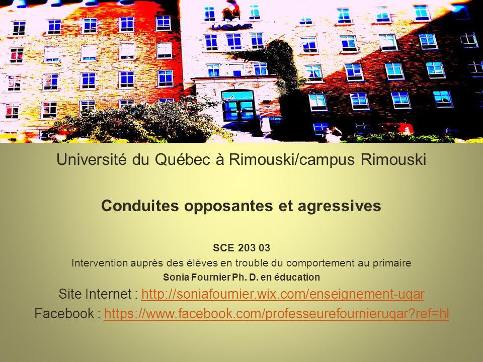Problématiques scolaires liées à linadaptation Université du Québec à Rimouski/campus Rimouski Conduites opposantes et agressives SCE 203 03 Intervent