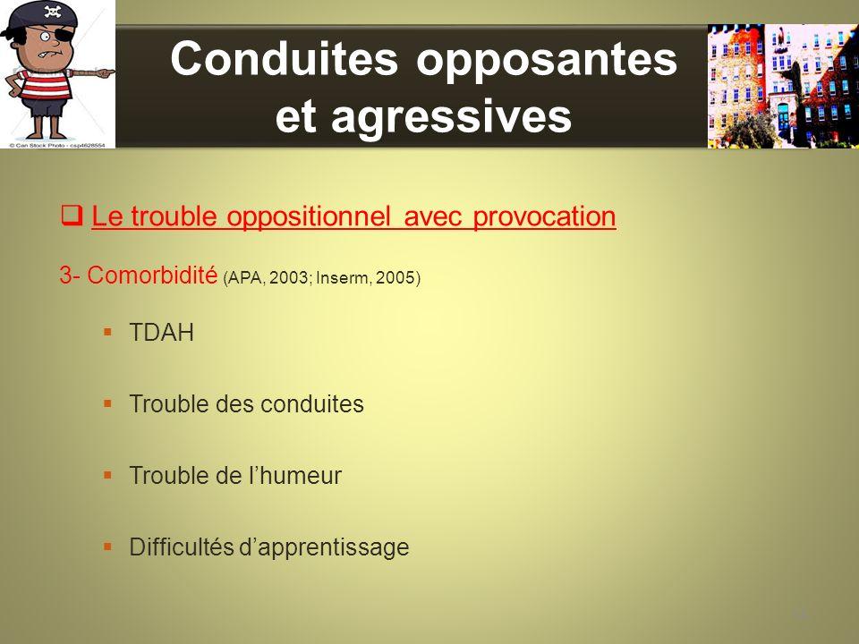 Conduites opposantes et agressives Le trouble oppositionnel avec provocation 3- Comorbidité (APA, 2003; Inserm, 2005) TDAH Trouble des conduites Troub