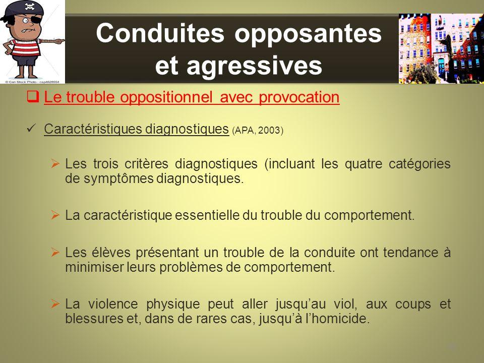 Conduites opposantes et agressives Le trouble oppositionnel avec provocation Caractéristiques diagnostiques (APA, 2003) Les trois critères diagnostiqu