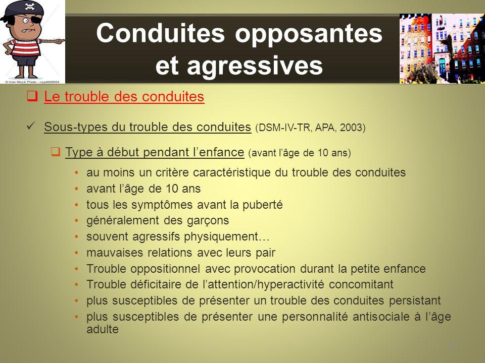 Conduites opposantes et agressives Le trouble des conduites Sous-types du trouble des conduites (DSM-IV-TR, APA, 2003) Type à début pendant lenfance (