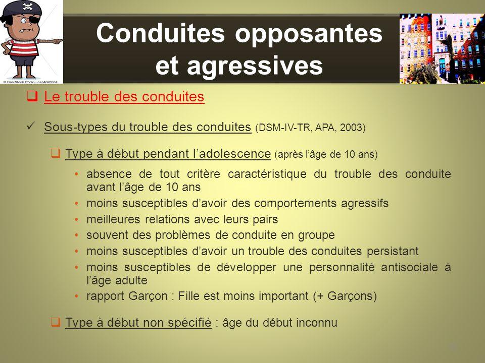 Conduites opposantes et agressives Le trouble des conduites Sous-types du trouble des conduites (DSM-IV-TR, APA, 2003) Type à début pendant ladolescen