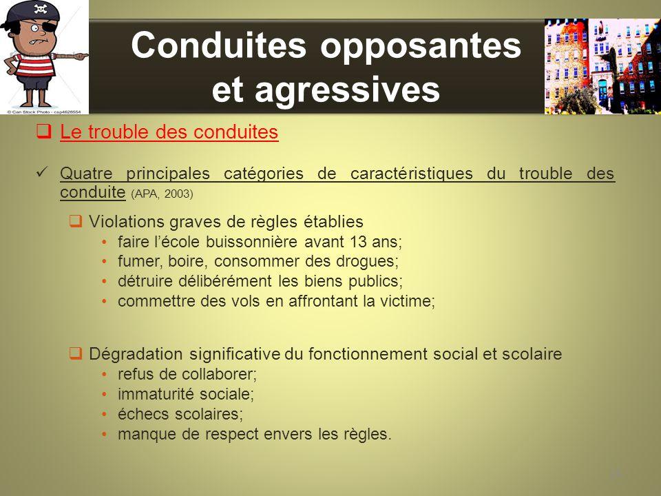 Conduites opposantes et agressives Le trouble des conduites Quatre principales catégories de caractéristiques du trouble des conduite (APA, 2003) Viol