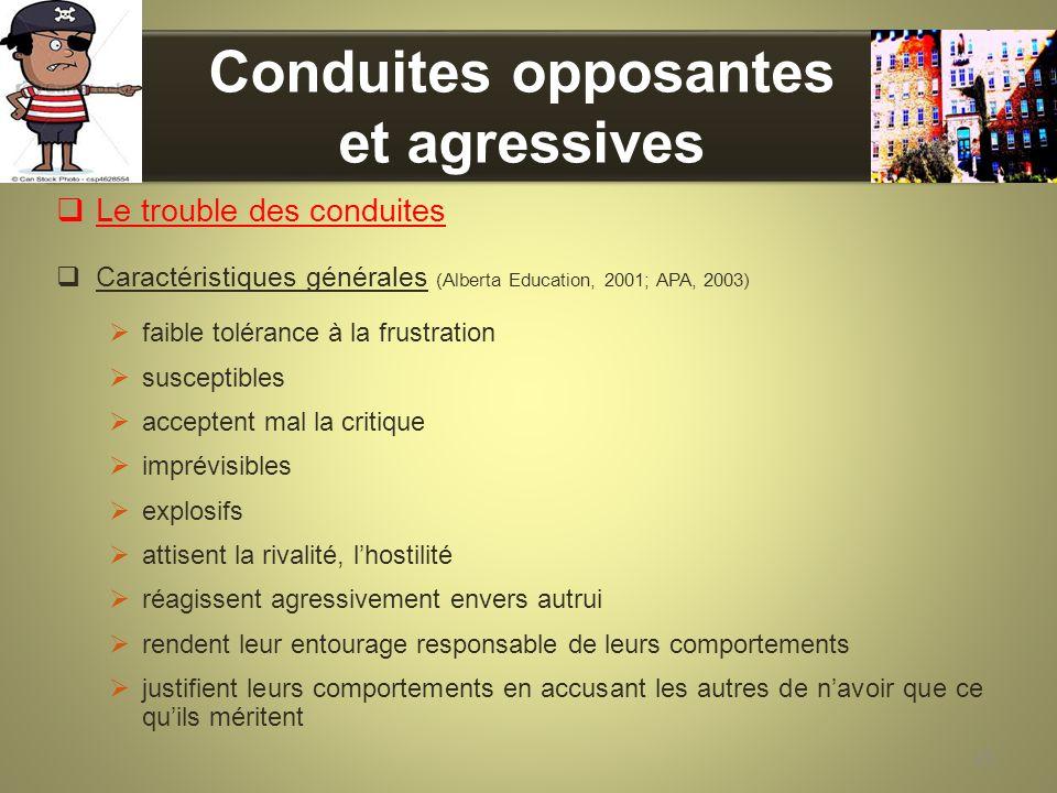 Conduites opposantes et agressives Le trouble des conduites Caractéristiques générales (Alberta Education, 2001; APA, 2003) faible tolérance à la frus