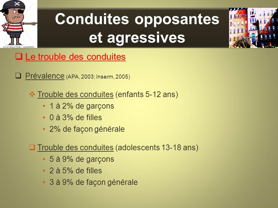 Conduites opposantes et agressives Le trouble des conduites Prévalence (APA, 2003; Inserm, 2005) Trouble des conduites (enfants 5-12 ans) 1 à 2% de ga