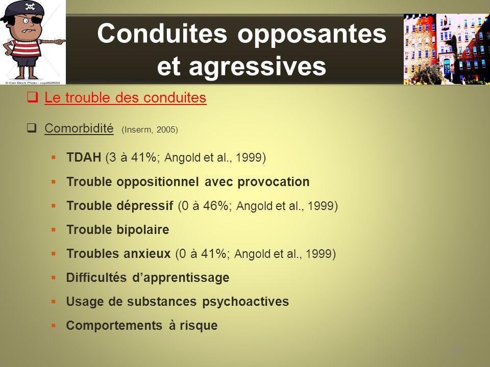 Conduites opposantes et agressives Le trouble des conduites Comorbidité (Inserm, 2005) TDAH (3 à 41%; Angold et al., 1999 ) Trouble oppositionnel avec