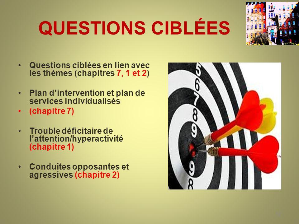 QUESTIONS CIBLÉES Questions ciblées en lien avec les thèmes (chapitres 7, 1 et 2) Plan dintervention et plan de services individualisés (chapitre 7) T