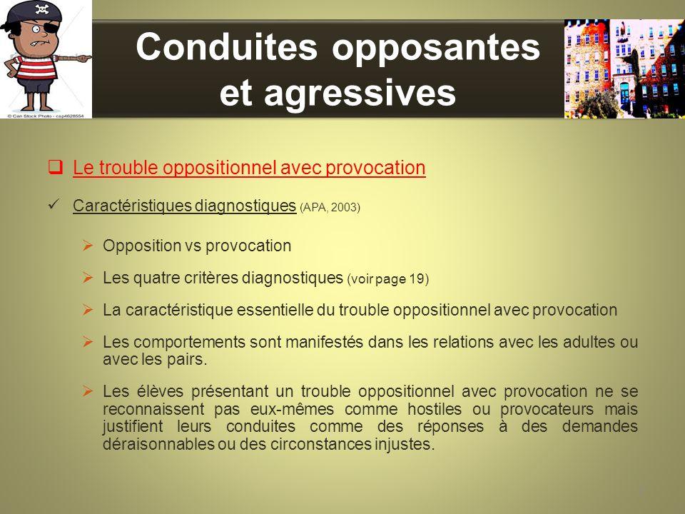 Conduites opposantes et agressives Le trouble oppositionnel avec provocation Caractéristiques diagnostiques (APA, 2003) Opposition vs provocation Les