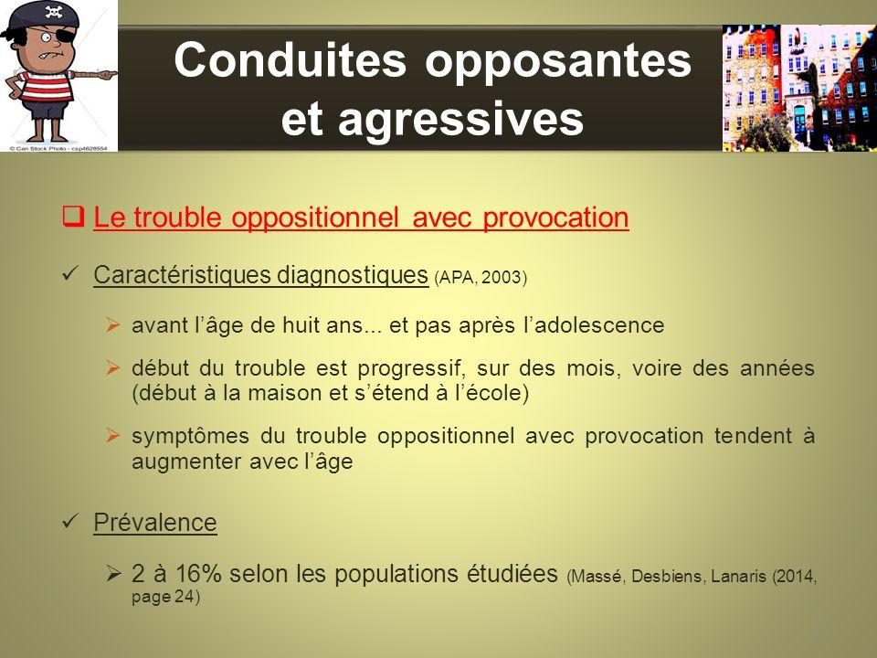 Conduites opposantes et agressives Le trouble oppositionnel avec provocation Caractéristiques diagnostiques (APA, 2003) avant lâge de huit ans... et p