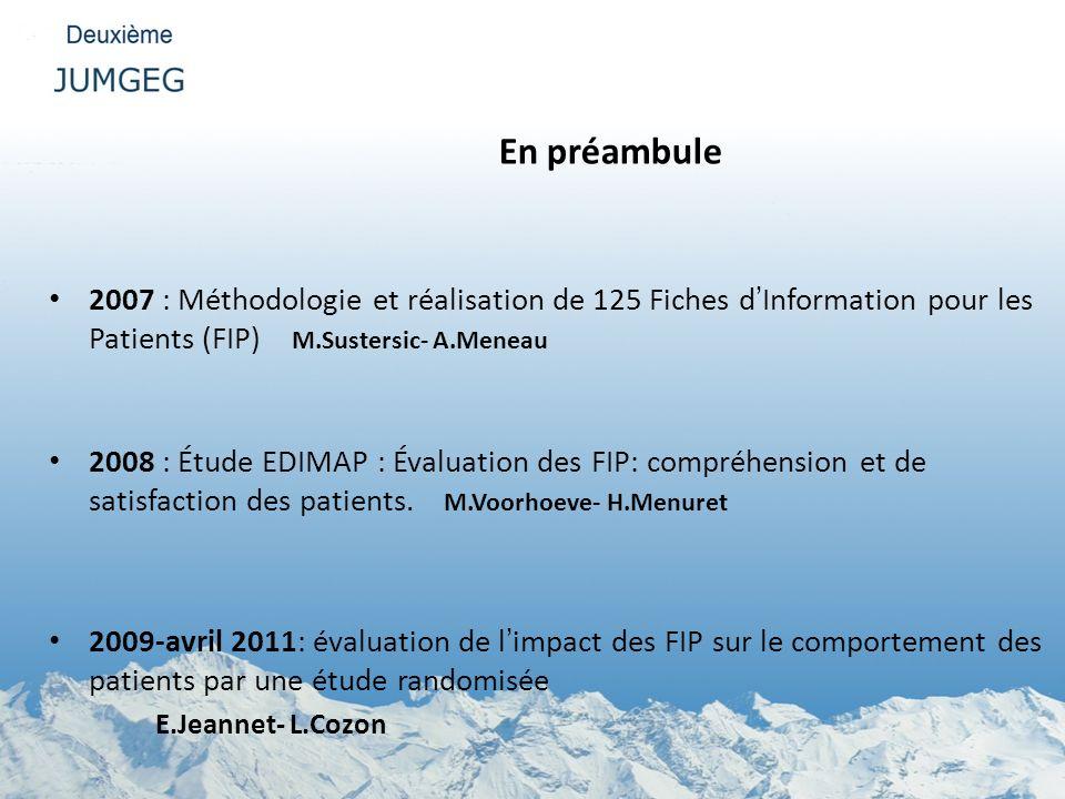 En préambule 2007 : Méthodologie et réalisation de 125 Fiches dInformation pour les Patients (FIP) M.Sustersic- A.Meneau 2008 : Étude EDIMAP : Évaluat