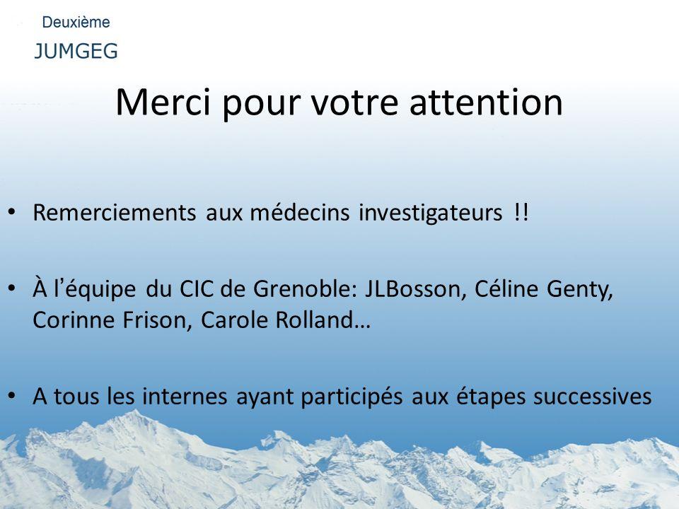 Merci pour votre attention Remerciements aux médecins investigateurs !! À léquipe du CIC de Grenoble: JLBosson, Céline Genty, Corinne Frison, Carole R