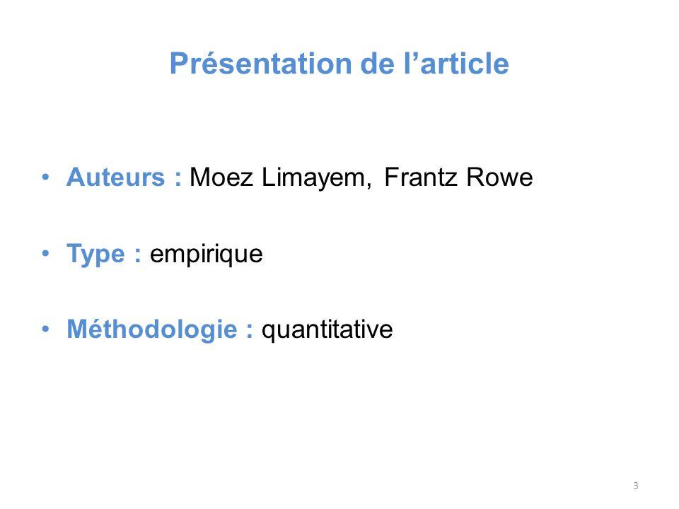 Présentation de larticle Auteurs : Moez Limayem, Frantz Rowe Type : empirique Méthodologie : quantitative 3
