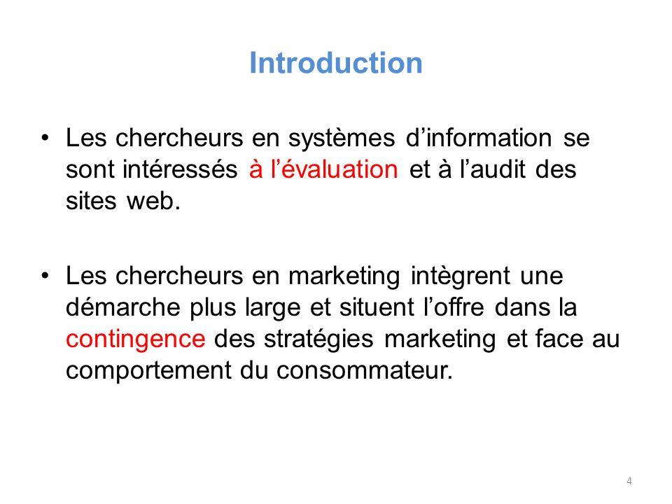 Introduction Les chercheurs en systèmes dinformation se sont intéressés à lévaluation et à laudit des sites web.