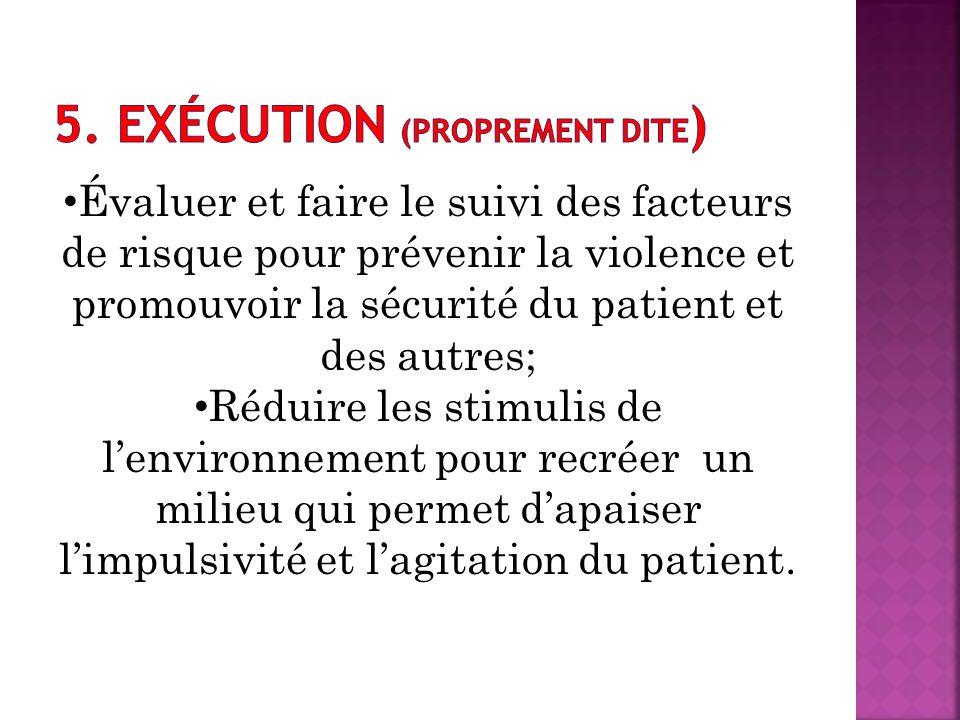 Évaluer et faire le suivi des facteurs de risque pour prévenir la violence et promouvoir la sécurité du patient et des autres; Réduire les stimulis de