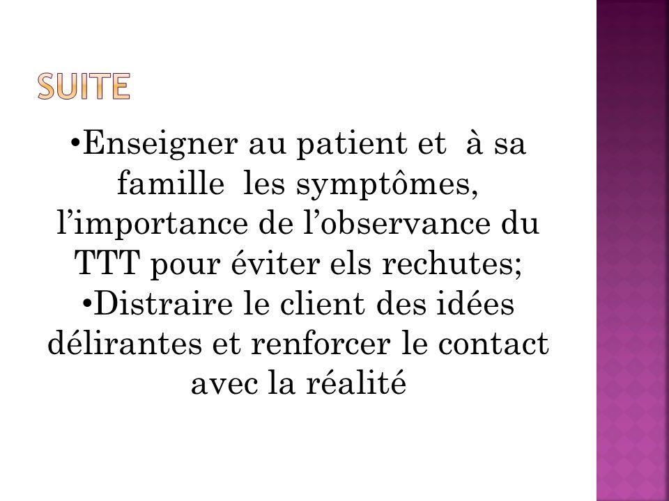 Enseigner au patient et à sa famille les symptômes, limportance de lobservance du TTT pour éviter els rechutes; Distraire le client des idées délirant