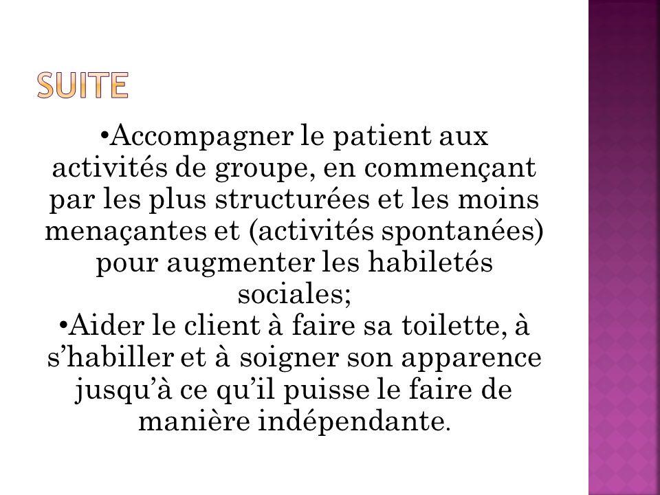 Accompagner le patient aux activités de groupe, en commençant par les plus structurées et les moins menaçantes et (activités spontanées) pour augmente