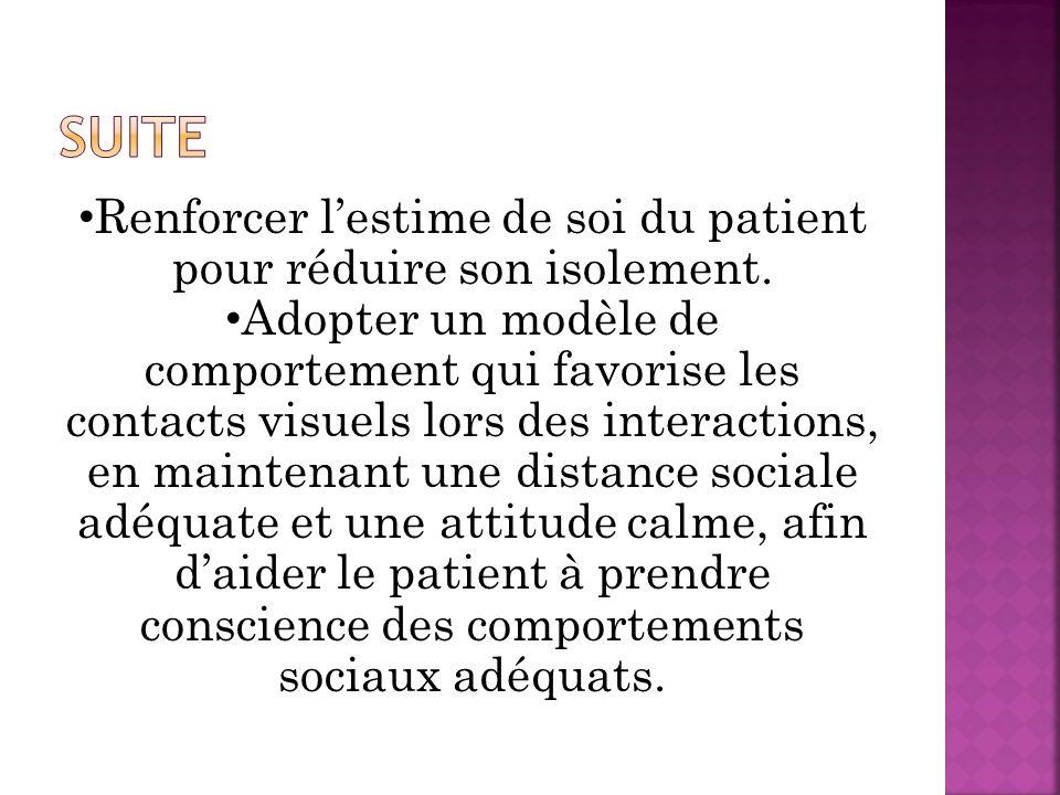 Renforcer lestime de soi du patient pour réduire son isolement.