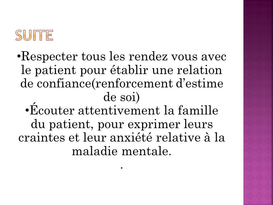 Respecter tous les rendez vous avec le patient pour établir une relation de confiance(renforcement destime de soi) Écouter attentivement la famille du patient, pour exprimer leurs craintes et leur anxiété relative à la maladie mentale..