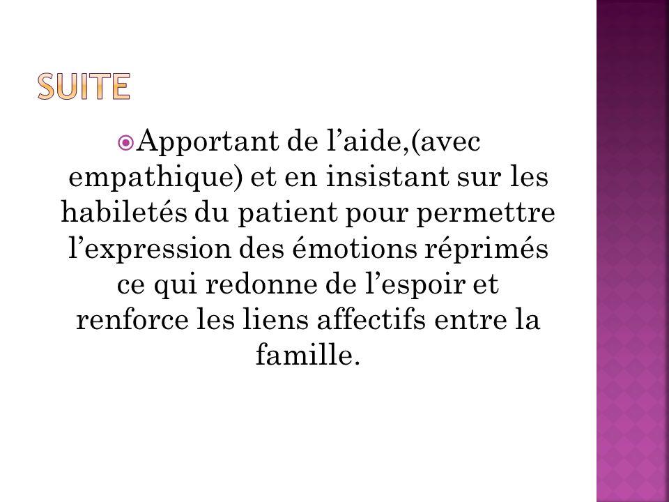 Apportant de laide,(avec empathique) et en insistant sur les habiletés du patient pour permettre lexpression des émotions réprimés ce qui redonne de lespoir et renforce les liens affectifs entre la famille.