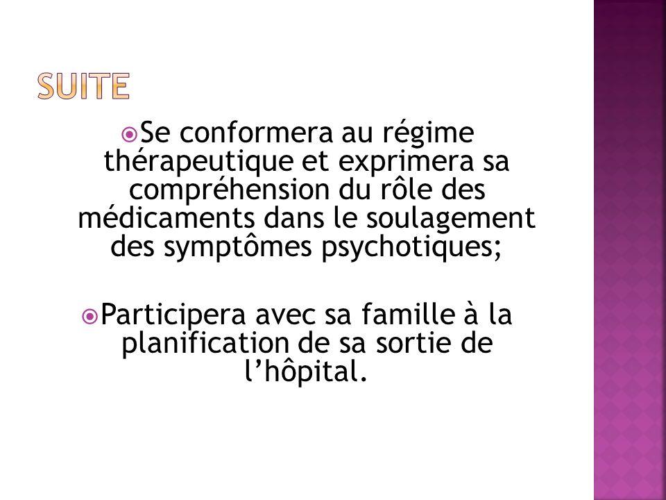 Se conformera au régime thérapeutique et exprimera sa compréhension du rôle des médicaments dans le soulagement des symptômes psychotiques; Participera avec sa famille à la planification de sa sortie de lhôpital.