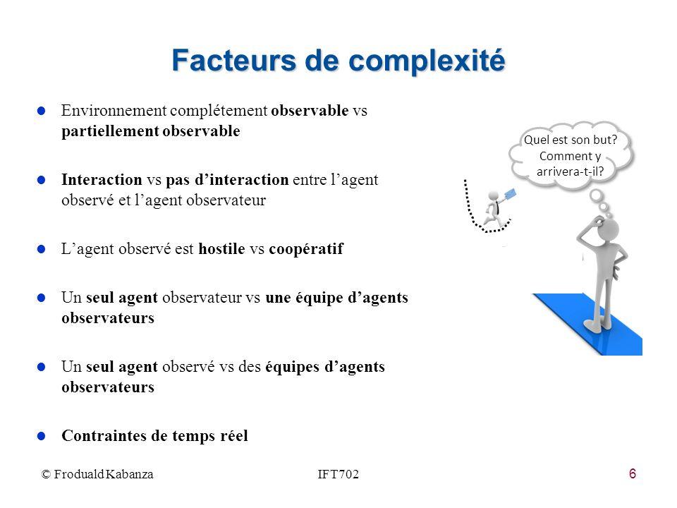 6 Facteurs de complexité © Froduald KabanzaIFT702 Quel est son but? Comment y arrivera-t-il? l Environnement complétement observable vs partiellement