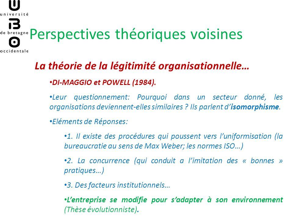 Perspectives théoriques voisines La théorie de la légitimité organisationnelle… DI-MAGGIO et POWELL (1984). Leur questionnement: Pourquoi dans un sect
