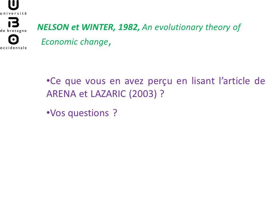 NELSON et WINTER, 1982, An evolutionary theory of Economic change, Ce que vous en avez perçu en lisant larticle de ARENA et LAZARIC (2003) ? Vos quest