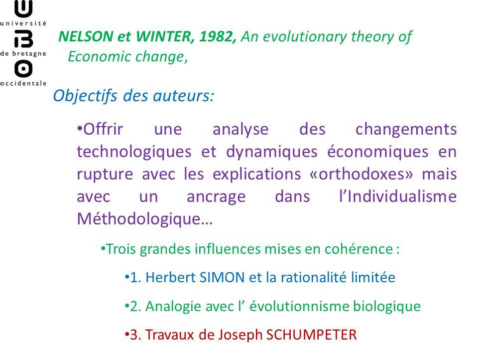 NELSON et WINTER, 1982, An evolutionary theory of Economic change, Objectifs des auteurs: Offrir une analyse des changements technologiques et dynamiq
