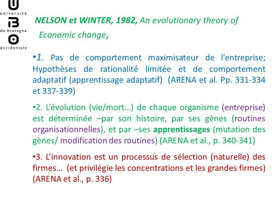 NELSON et WINTER, 1982, An evolutionary theory of Economic change, * Une première définition de lentreprise (évolutionniste) Lentreprise = système adaptatif (via ses « routines ») dont le comportement présent est le résultat de lensemble de son histoire passée.