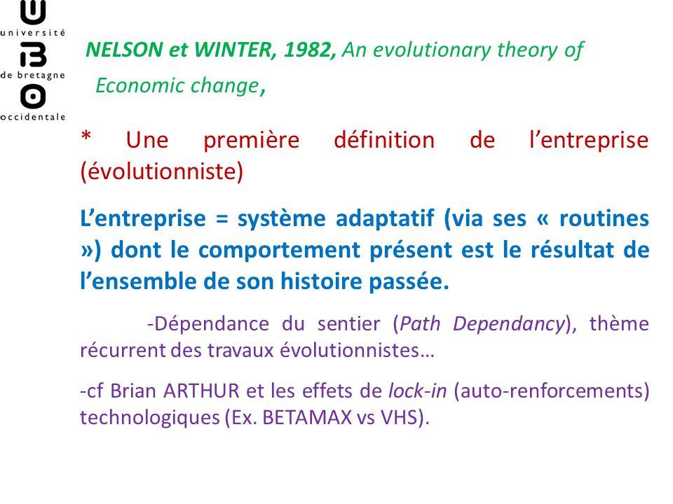 NELSON et WINTER, 1982, An evolutionary theory of Economic change, * Une première définition de lentreprise (évolutionniste) Lentreprise = système ada