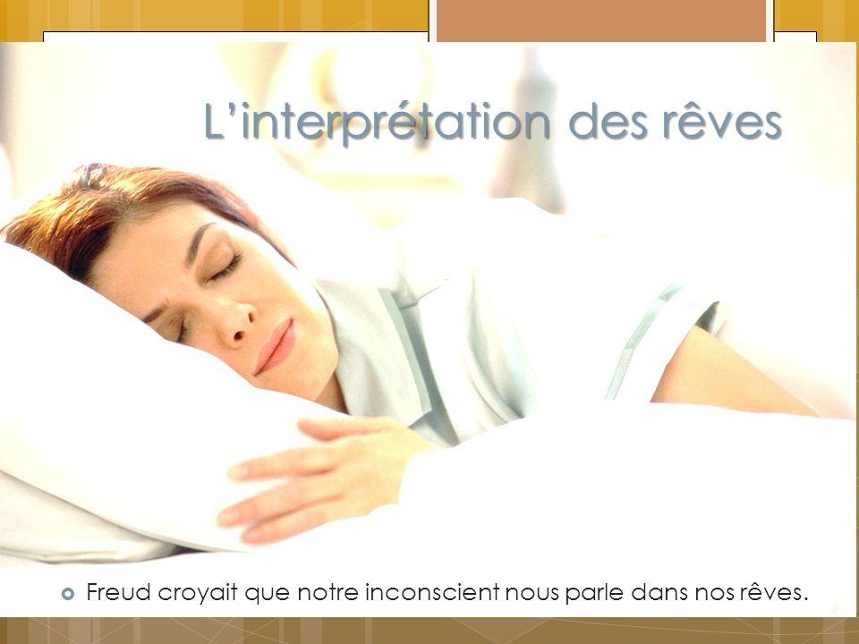 Linterprétation des rêves Freud croyait que notre inconscient nous parle dans nos rêves.