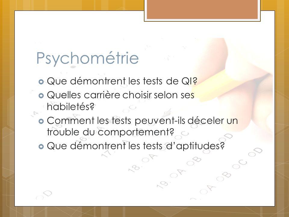 Psychométrie Que démontrent les tests de QI? Quelles carrière choisir selon ses habiletés? Comment les tests peuvent-ils déceler un trouble du comport