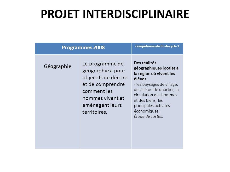 PROJET INTERDISCIPLINAIRE Programmes 2008 Compétences de fin de cycle 3 Géographie Le programme de géographie a pour objectifs de décrire et de co