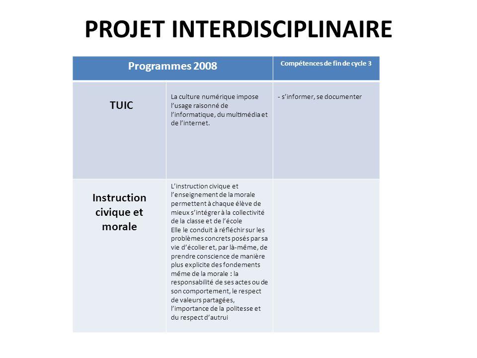 PROJET INTERDISCIPLINAIRE Programmes 2008 Compétences de fin de cycle 3 TUIC La culture numérique impose lusage raisonné de linformatique, du multi