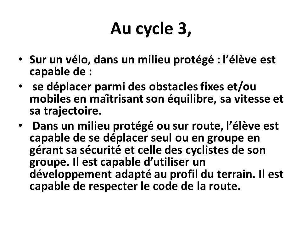 Au cycle 3, Sur un vélo, dans un milieu protégé : lélève est capable de : se déplacer parmi des obstacles fixes et/ou mobiles en maîtrisant son