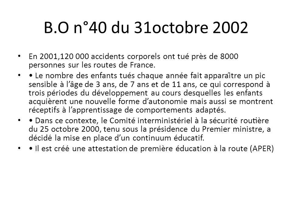 B.O n°40 du 31octobre 2002 En 2001,120 000 accidents corporels ont tué près de 8000 personnes sur les routes de France. Le nombre des enfants tués