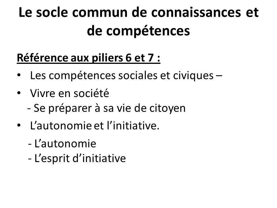 Le socle commun de connaissances et de compétences Référence aux piliers 6 et 7 : Les compétences sociales et civiques – Vivre en société - Se p