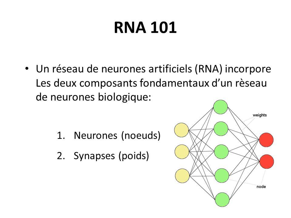 RNA 101 Un réseau de neurones artificiels (RNA) incorpore Les deux composants fondamentaux dun rèseau de neurones biologique: 1. Neurones (noeuds) 2.