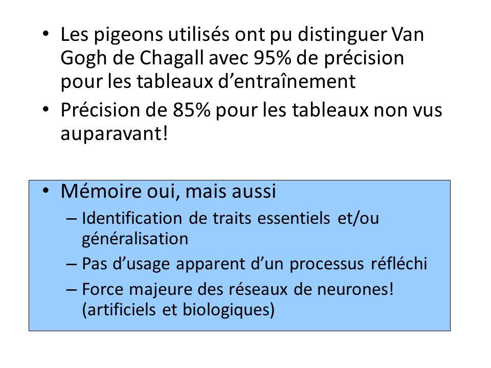 Les pigeons utilisés ont pu distinguer Van Gogh de Chagall avec 95% de précision pour les tableaux dentraînement Précision de 85% pour les tableaux no