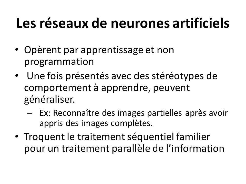 Les réseaux de neurones artificiels Opèrent par apprentissage et non programmation Une fois présentés avec des stéréotypes de comportement à apprendre