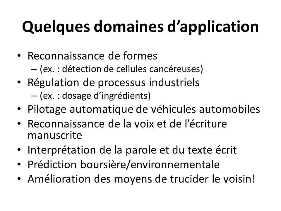 Quelques domaines dapplication Reconnaissance de formes – (ex. : détection de cellules cancéreuses) Régulation de processus industriels – (ex. : dosag