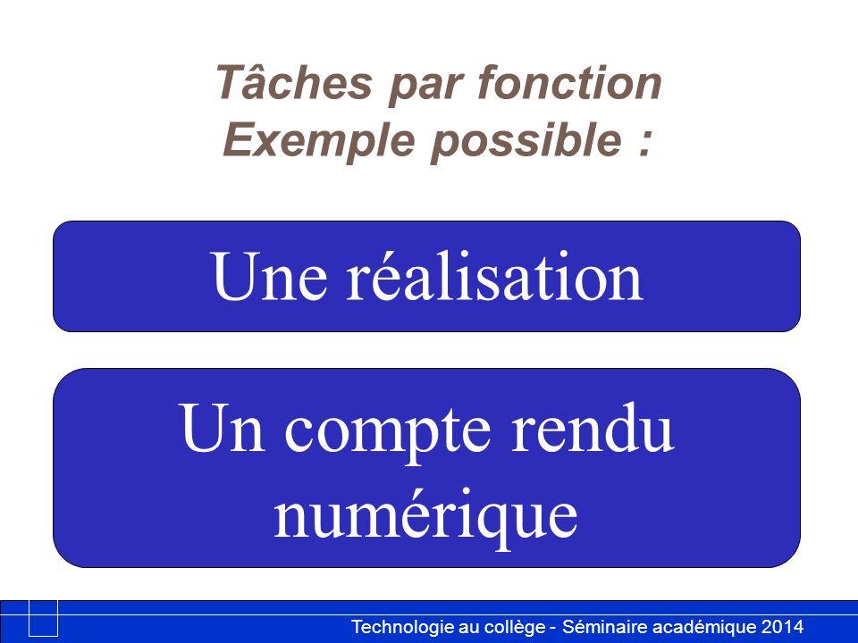 Technologie au collège - Séminaire académique 2014 Académie de Besançon 12 Tâches par fonction Exemple possible : Une réalisation Un compte rendu numé