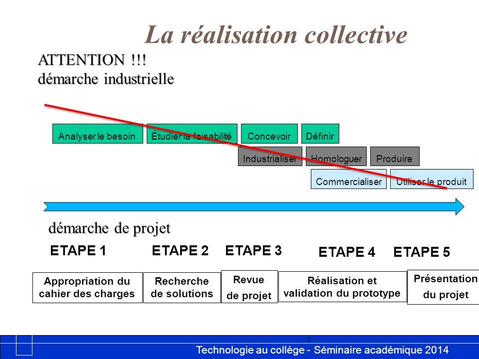 Technologie au collège - Séminaire académique 2014 Académie de Besançon 8 ATTENTION !!! démarche industrielle La réalisation collective Étudier la fai