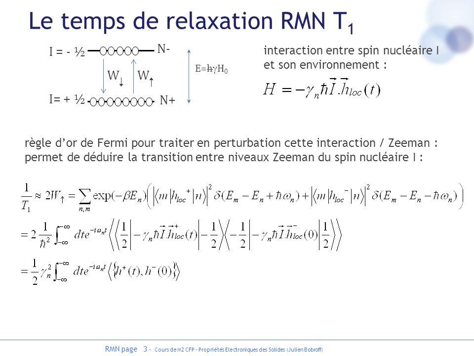 RMN page 3 - Cours de M2 CFP - Propriétés Electroniques des Solides (Julien Bobroff) Le temps de relaxation RMN T 1 I = - ½ I= + ½ N- N+ WW E=h H 0 rè