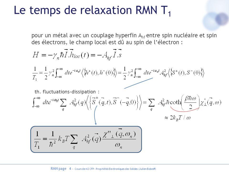 RMN page 4 - Cours de M2 CFP - Propriétés Electroniques des Solides (Julien Bobroff) Le temps de relaxation RMN T 1 pour un métal avec un couplage hyp