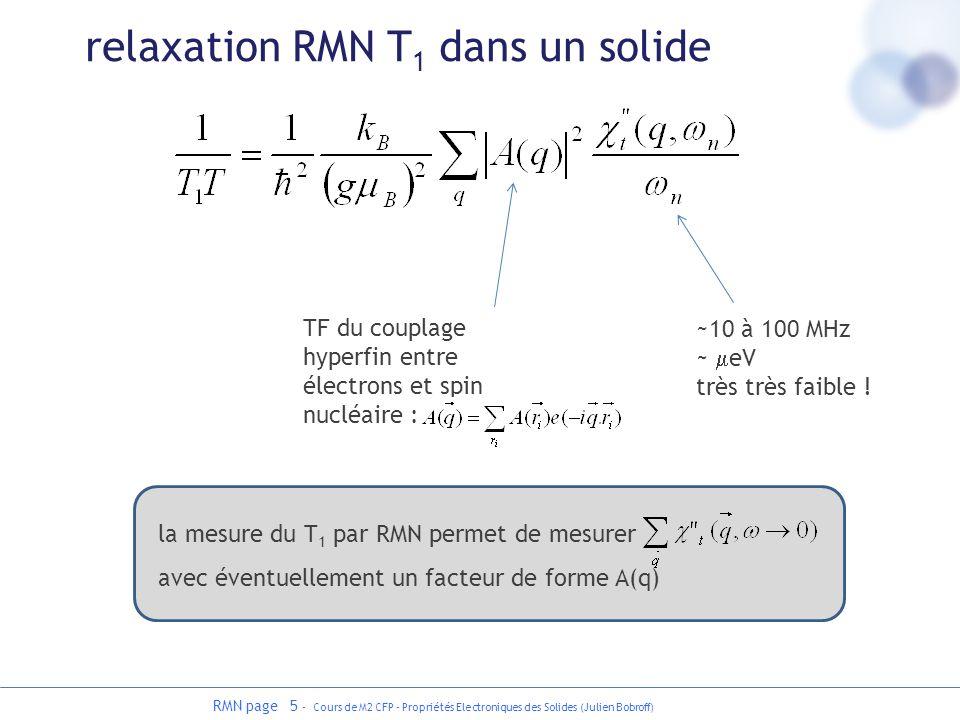 RMN page 5 - Cours de M2 CFP - Propriétés Electroniques des Solides (Julien Bobroff) relaxation RMN T 1 dans un solide TF du couplage hyperfin entre é