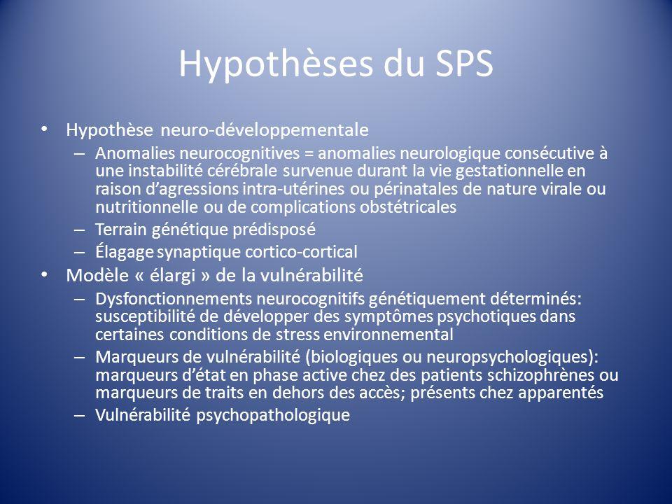 Hypothèses du SPS Hypothèse neuro-développementale – Anomalies neurocognitives = anomalies neurologique consécutive à une instabilité cérébrale surven